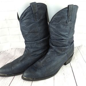 Men's 8.5D blue leather cowboy boots wide width
